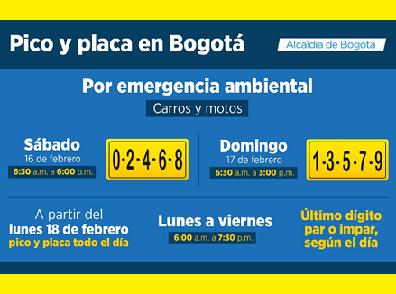 Horarios de pico y placa en Bogotá