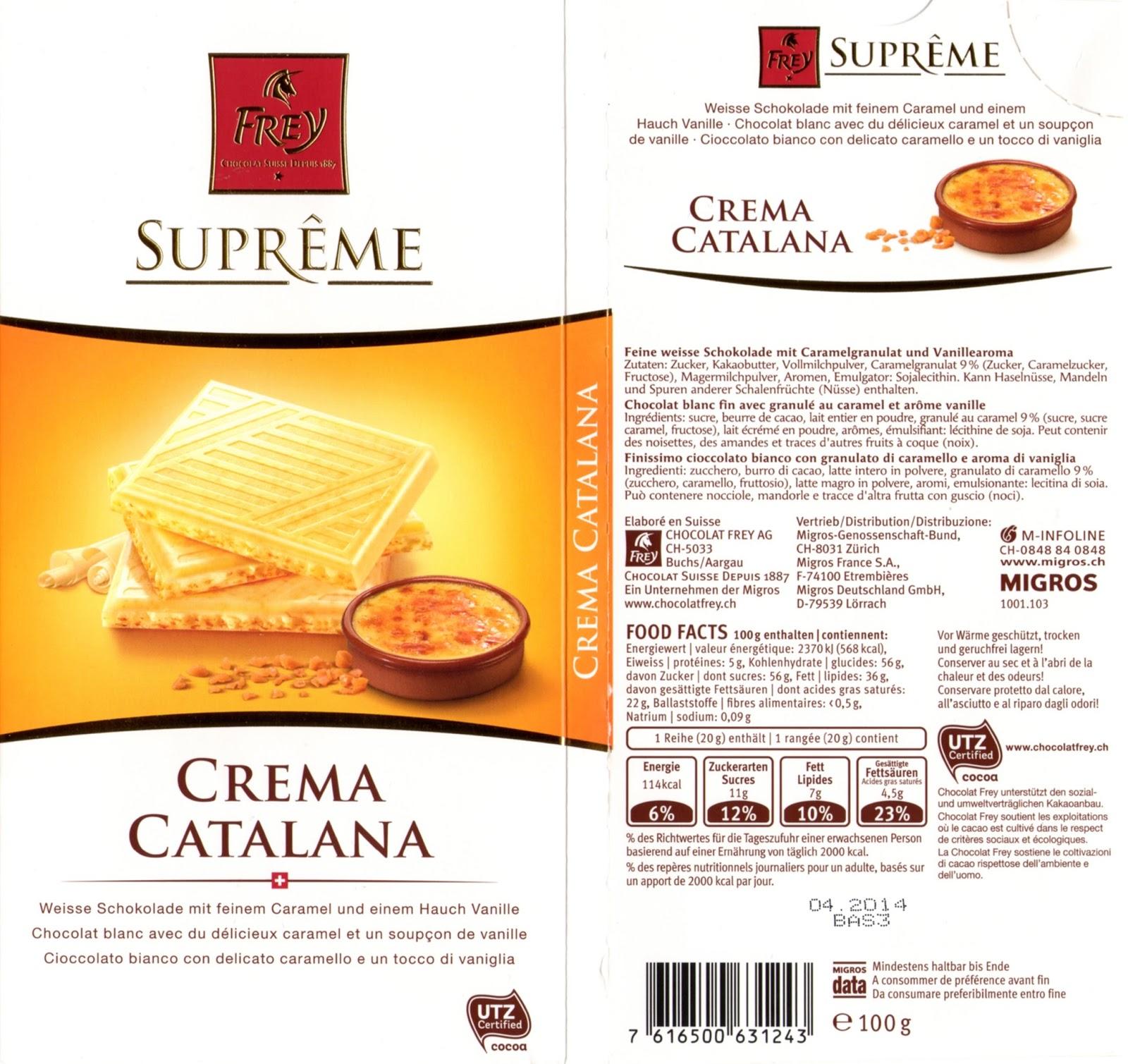 tablette de chocolat blanc fourré frey suprême crema catalana crème brûlée