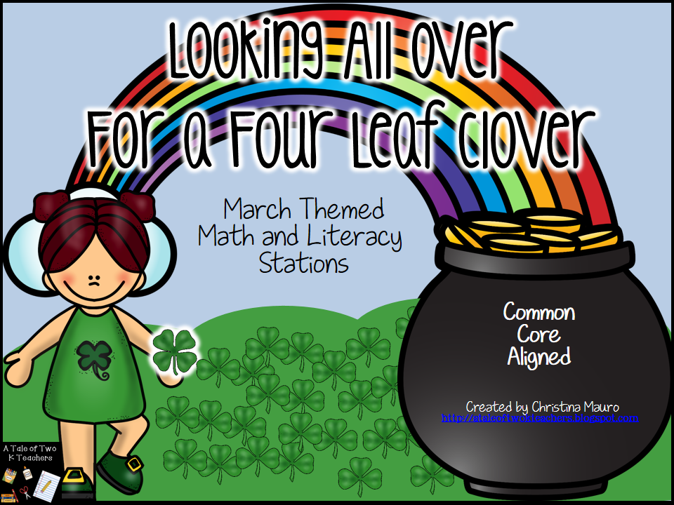 http://www.teacherspayteachers.com/Product/Looking-All-Over-For-a-4-Leaf-Clover-St-Patricks-Day-Math-Literacy-Stations-549430