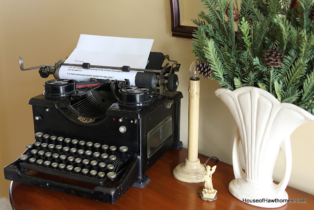 Royal typewriter used in a vintage Christmas display