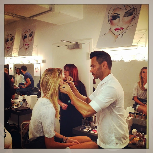 Alex Sanchez backstage working his magic at Macy's Glamorama Fashion Rocks 2014