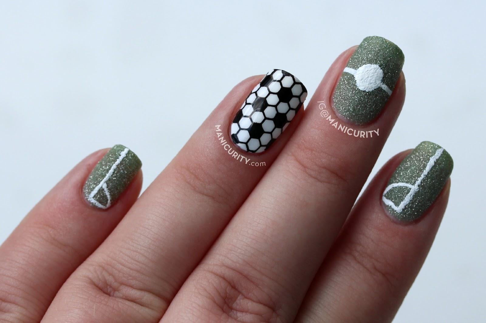 #BecauseFutbol Nails - Simple DIY Soccer Nail Art for FIFA World Cup 2014 | Manicurity.com