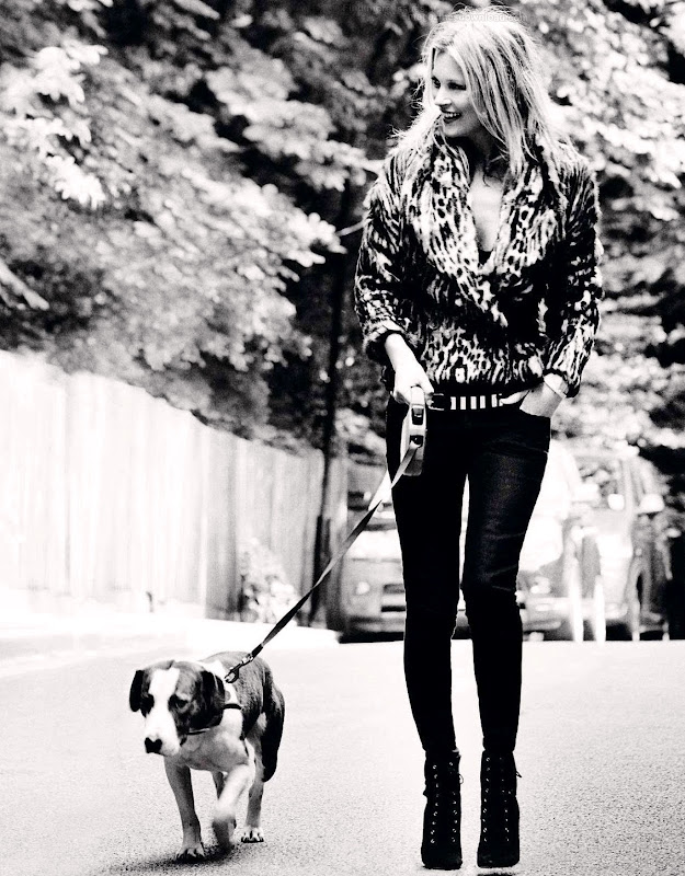 Kate Moss walking a dog
