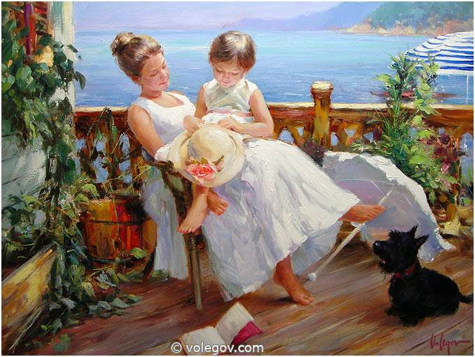 madre-con-sus-hijos-al-oleo
