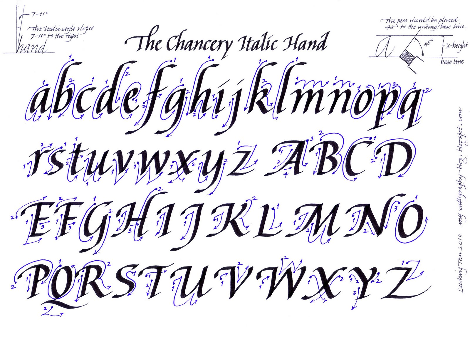 Calligraphy alphabet guide