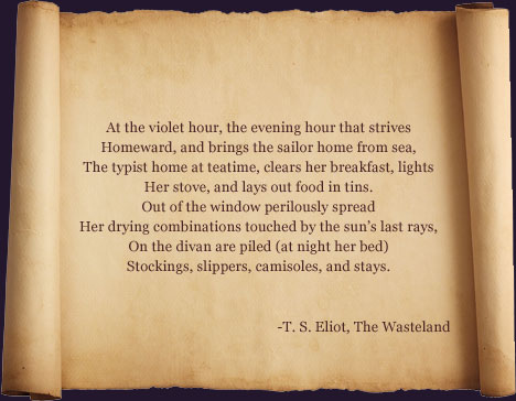 t s eliot poem For a poet of his stature, eliot produced a relatively small number of poems he  was aware of this even early in his career he wrote to.