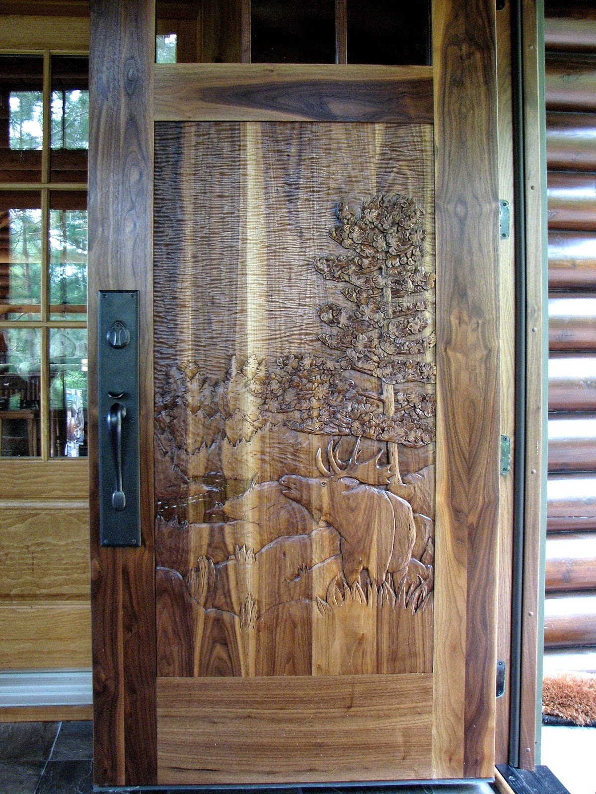 Black, walnut, entry, door, john, huisman, minnesota, wildlife, moose