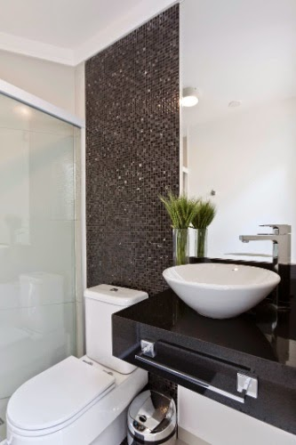 Construindo Minha Casa Clean Banheiros e Lavabos com Bancadas Pretas! Inspir -> Armario De Banheiro Em Volta Redonda