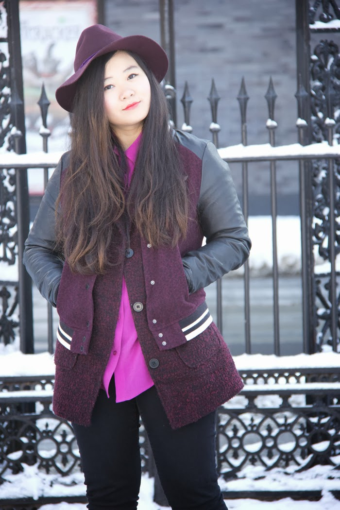 Fedora-Hat. Burgundy-Outfits, Varsity-Jacket,Oversized-Coat