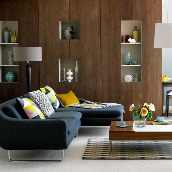 New home interior design modern living room collection 1 Walnut effect living room furniture