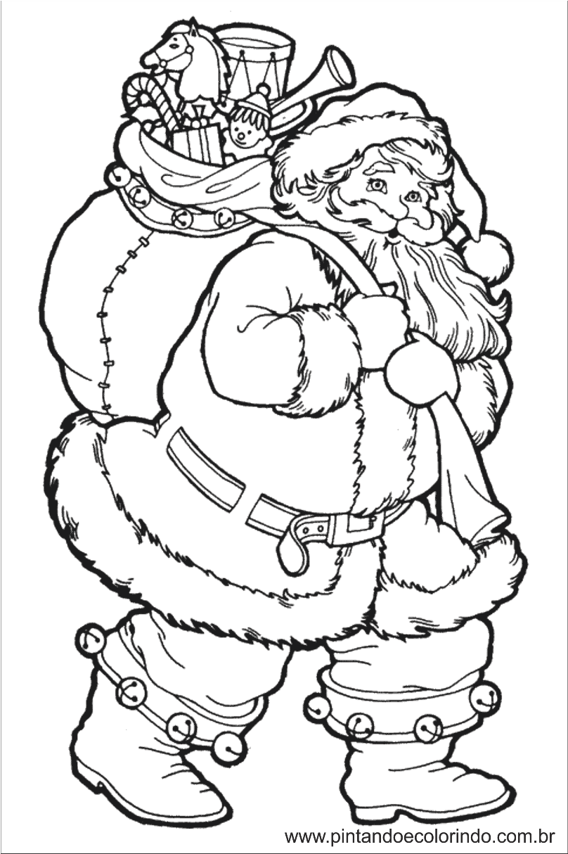 Pintando e colorindo colorir papai noel desenhos de natal for Santa claus printable coloring pages