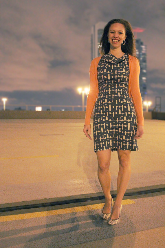 full view printed gray dress coral cardigan snake shoes