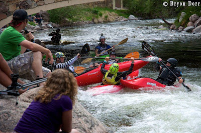 Competitors getting crushed during the Teva 8 Ball Race, chris baer, vail, co