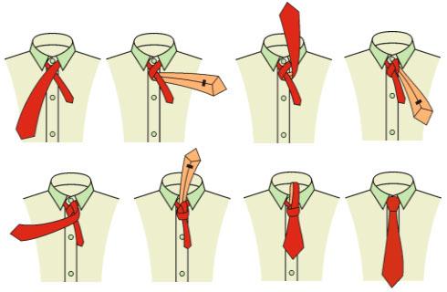 Схема и фото как завязывать галстук.