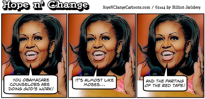 obama, obama jokes, cartoon, humor, political, conservative, tea party, hope n' change, hope and change, stilton jarlsberg, michelle, god's work, obamacare, aca, knuckleheads, health, insurance