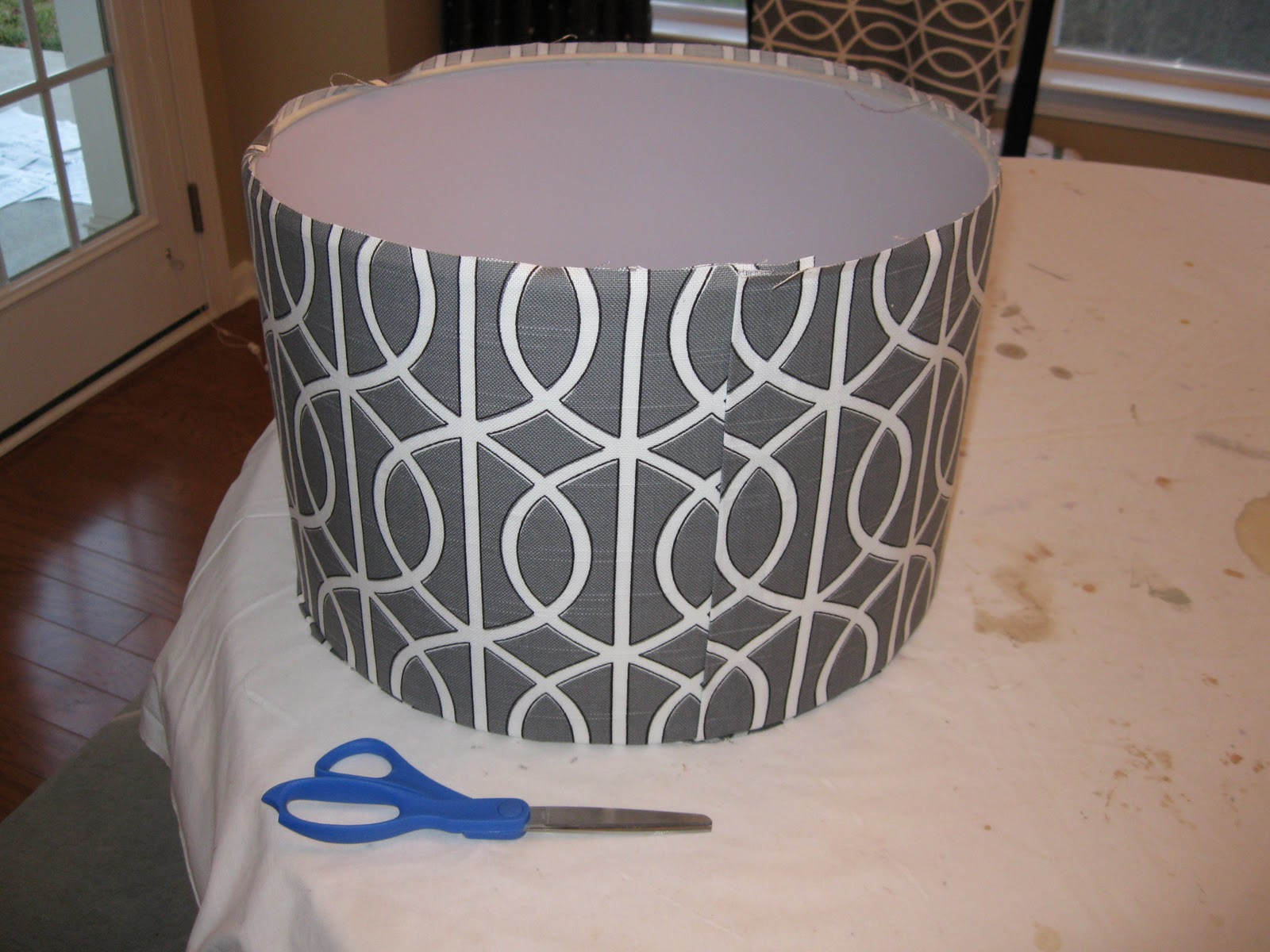 How to recover a lampshade a photo tutorial emily a clark covering a drum lampshade with fabric aloadofball Gallery