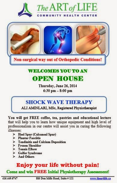 Open House: Shockwave Therapy, The Art of Life Health Centre Toronto, poster: