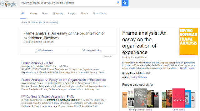frame analysis an essay on the organization of experience 1974 Erving goffman pioneered the study of social interactions in everyday life and made numerous lasting an essay on the organization of experience is another of goffman's well-known books, published in 1974 frame analysis is the study of the organization of social experiences.