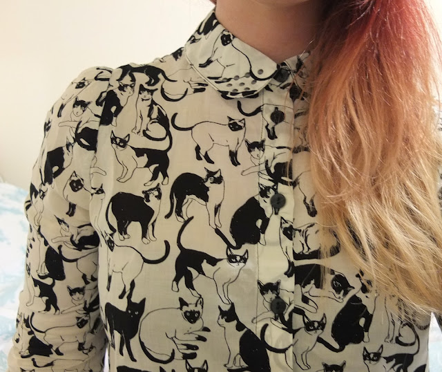 The Monki Cat Print Shirt on Hello Terri Lowe - UK fashion blog.