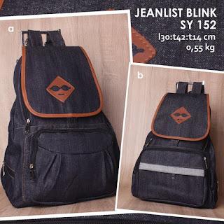 Jual Online Tas Ransel Jeans Blink Wanita Keren  - Jeanlist SY 152