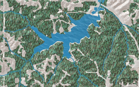 Lake map with trees