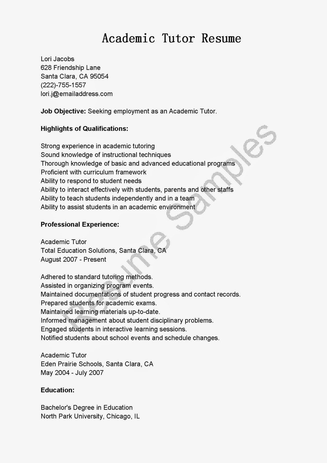 Teacher Resume Sample Teacher Resume Examples Substitute Teacher Aba Tutor  Banking Resume Objective Entry Level Httpwwwresumecareer  Barista Resume Objective