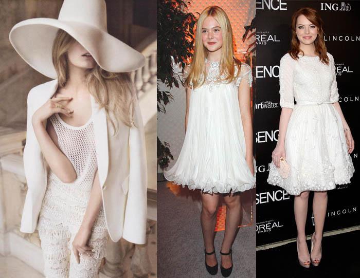 TOTAL WHITE_Emma Stone_Elle Fanning_Branco total_Vestido branco_look branco
