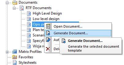 generowanie raportu z okna Resources
