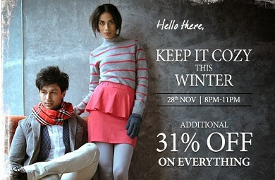 Flat 31% Additional Off on Everything at Myntra (Valid on Min Cart Value of Rs.999) For Today Only