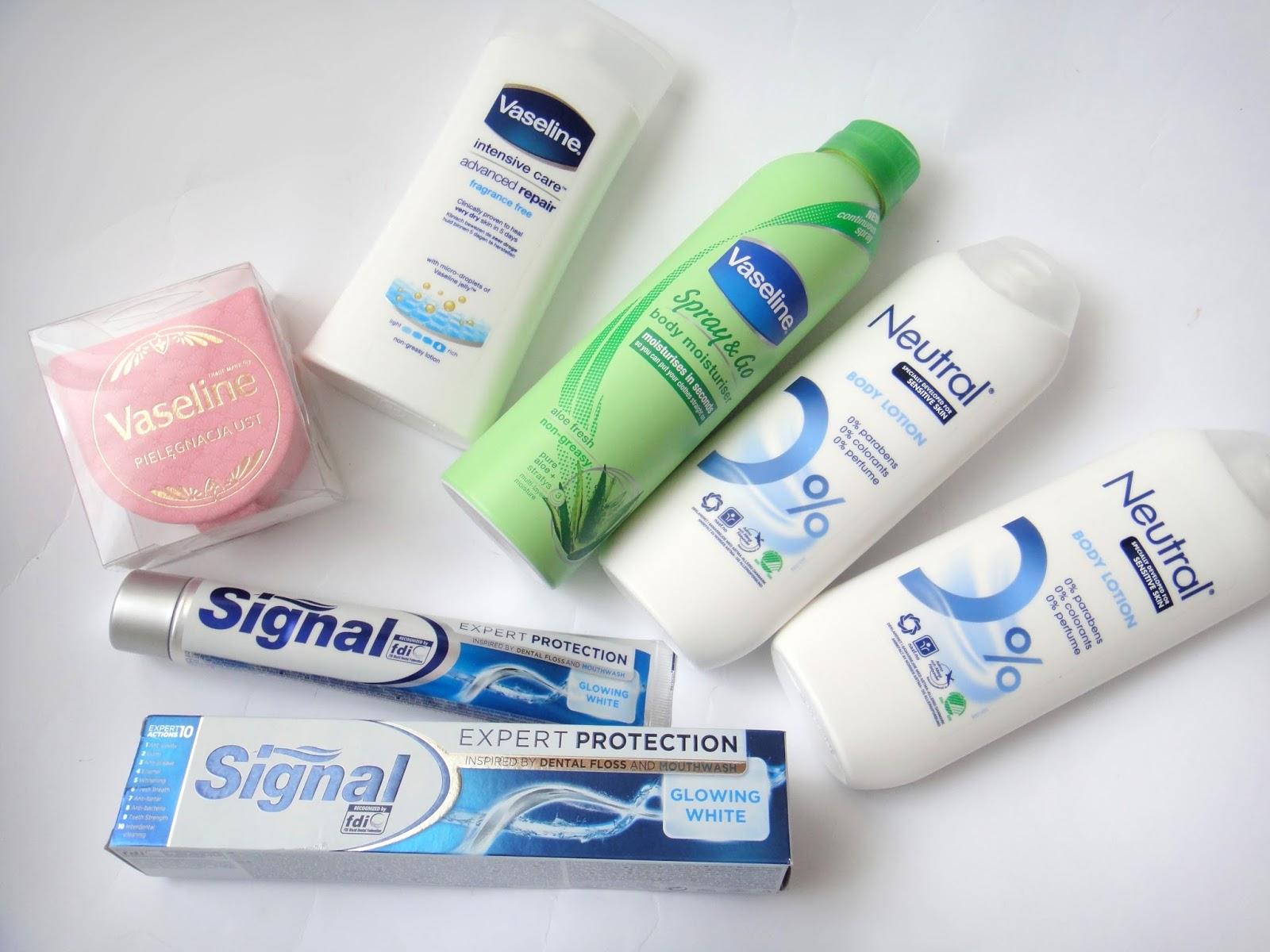 Przyjrzyjcie się nowościom pochodzącym od takich marek jak Vaseline Neutral oraz Signal Zaskakujące nowości kosmetyczne do pielęgnacji ciała ust