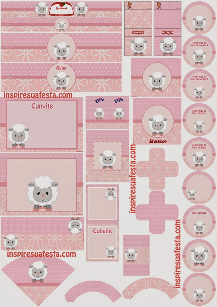Sweet Baby Lambs in Pink Free Printable Kit.