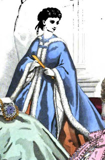 Circular cloak with fur trim