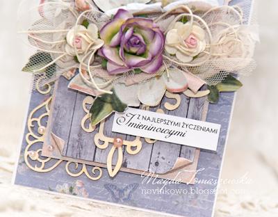 kartka imieninowa w fioletach