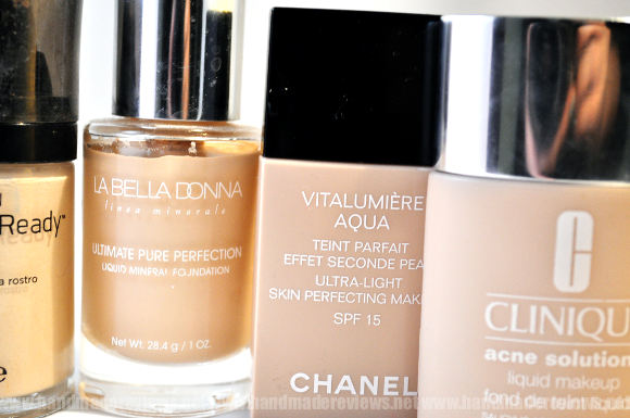 Chanel Vitalumiere, Clinique and Revlon foundation swatches