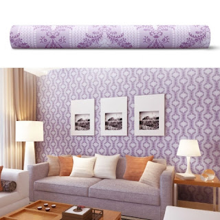 Purple bedroom ideas: Purple Damask wall sticker