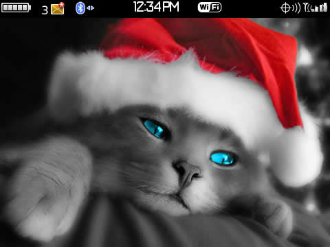 Cute Christmas Cat Cute Christmas Cat for BlackBerry Curve Theme