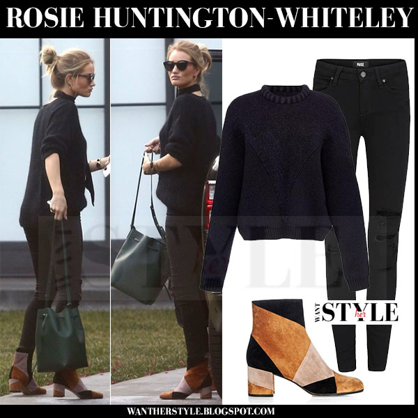 Rosie Huntington-Whiteley in camel and black colorblock gianvito rossi stivale suede ankle boots what she wore fall winter streetstyle