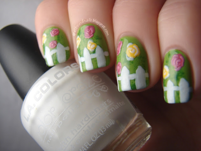 nails nailart nail art polish mani manicure Spellbound ABC Challenge S is for Spring Scene flowers roses texture green leaf leafy white picket fence pink yellow LA Colors Wet n Wild Candy-licious Sinful Colors Exotic Green Revlon Garden eyeshadow applicator sponge sponged sponging