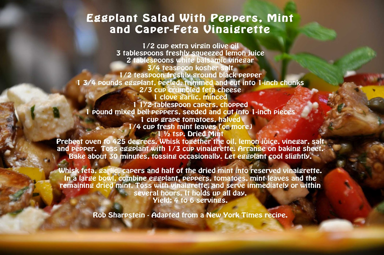 ... Healthy?: Eggplant Salad with Peppers, Mint and Caper-Feta Vinaigrette