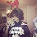 "RIHANNA ROCKS $38.00 @FRANK151 X @CLOTINC COLLAB ""FUCK WITH ME"" SHIRT AROUND THE CHRISTMAS TREE"