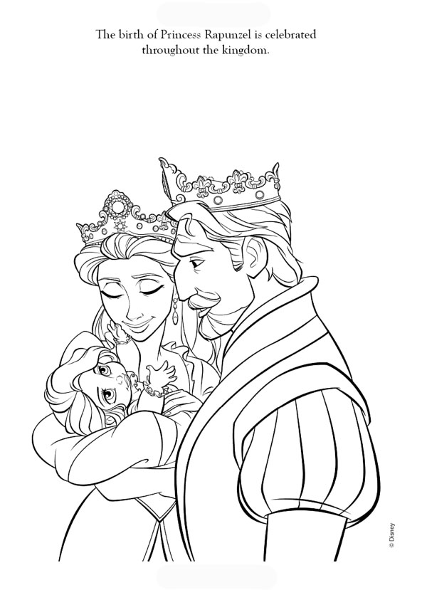Tangled Cartoon Coloring Pages King And Queen Are