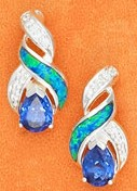 Tear Shaped Opal Post Earrings