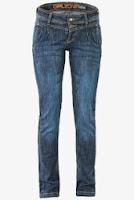 Jeans Patrol skinny, albastri, cu pense si talie medie