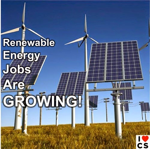 Renewable Energy Jobs Are GROWING! (Credit: www.facebook.com/iheartcomsci) Click to Enlarge.