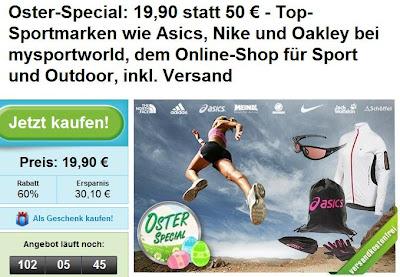 Oster-Special bei Groupon: 50€-mysportsworld-Gutschein zum Preis von 19,90 Euro