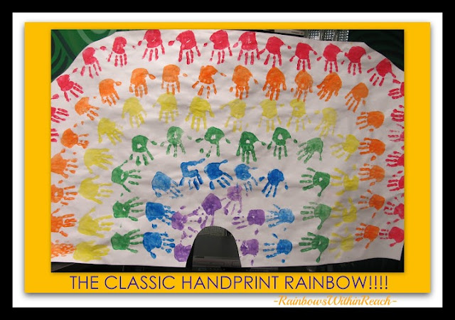 Photo of: Rainbow Bulletin Board from Painted Handprints