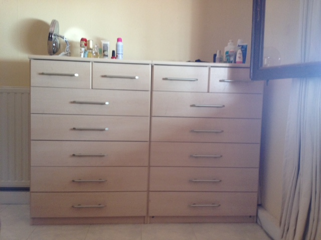 chest of drawers details twins to match the wardrobe ideal for his and hers 5 long drawers with single handles two smaller twin drawers for smaller items