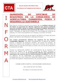 SUPRESIÓN DE OFICINAS DE REGISTROS EN LA CONSEJERÍA DE AGRICULTURA, GANADERÍA, PESCA Y DESARROLLO S