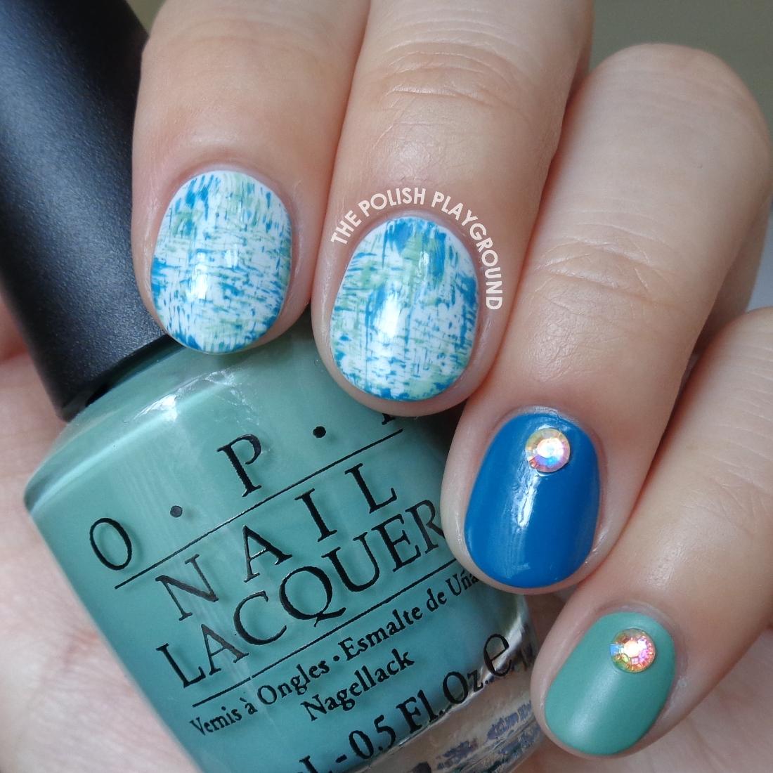 The polish playground blue green brushstroke nail art with blue and green brushstroke nail art with rhinestones prinsesfo Images