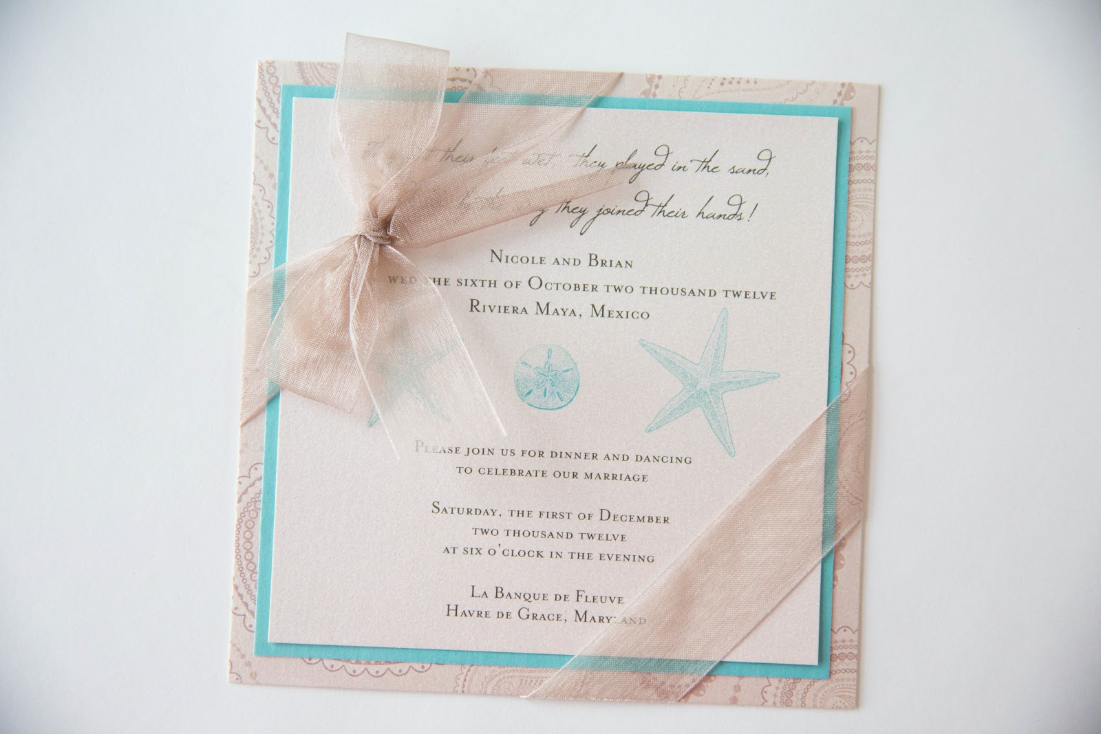 Beach Inspired Wedding Invitation • Custom Invitations Baltimore ...